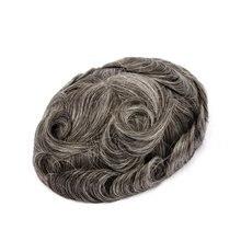 Toupet de cheveux naturels Mono + PU 8x10, couleur #340 (brun #3 avec 40% de cheveux blancs), densité de 120% à 130%, livraison gratuite