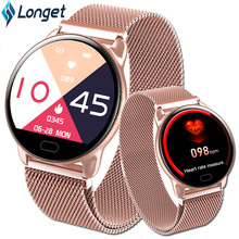 Longet K9 سوار ذكي جهاز تعقب للياقة البدنية 1.22 شاشة ملونة مقاس بوصة الصلب مربط الساعة القلب معدل مراقبة الرياضة Smartband الرجال النساء