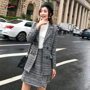 Image 4 - 2019 חורף נשים חליפות משרד משובץ טוויד ארוך שרוול מעיל מעיל בליזר הלבשה עליונה + אופנה מיני חצאית חליפת 2 חתיכה סט Vestidos