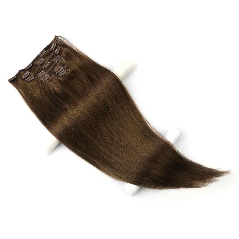 Pelucas de 20 ''24'' hechas a máquina de cabeza completa, cabello humano con Clip Remy 7 unids/set de cabello Natural liso brasileño con Clips en 10 colores