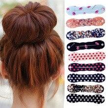 1 шт. модные корейские бигуди в горошек с цветочным рисунком, роллер в виде пончика, приспособление для закручивания волос, веревка для волос...