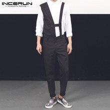 Fashion Men Jumpsuit INCERUN Irregular-Pants Streetwear Casual Chic Sleeveless Solid