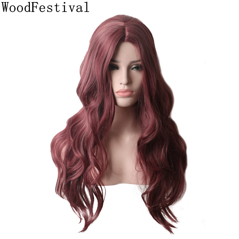 WoodFestival Womens Mixed Color Burgundy Wigs For Women Heat Resistant Synthetic Wig Long Wavy Cosplay