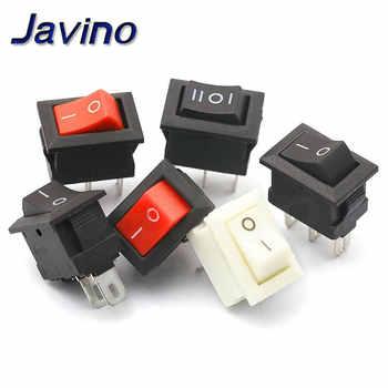 10 pièces Mini interrupteur à bascule SPST noir et rouge interrupteur encliquetable bouton ca 250V 3A/125 V 6A 2/3Pin i/o 10*15mm interrupteur marche-arrêt bascule