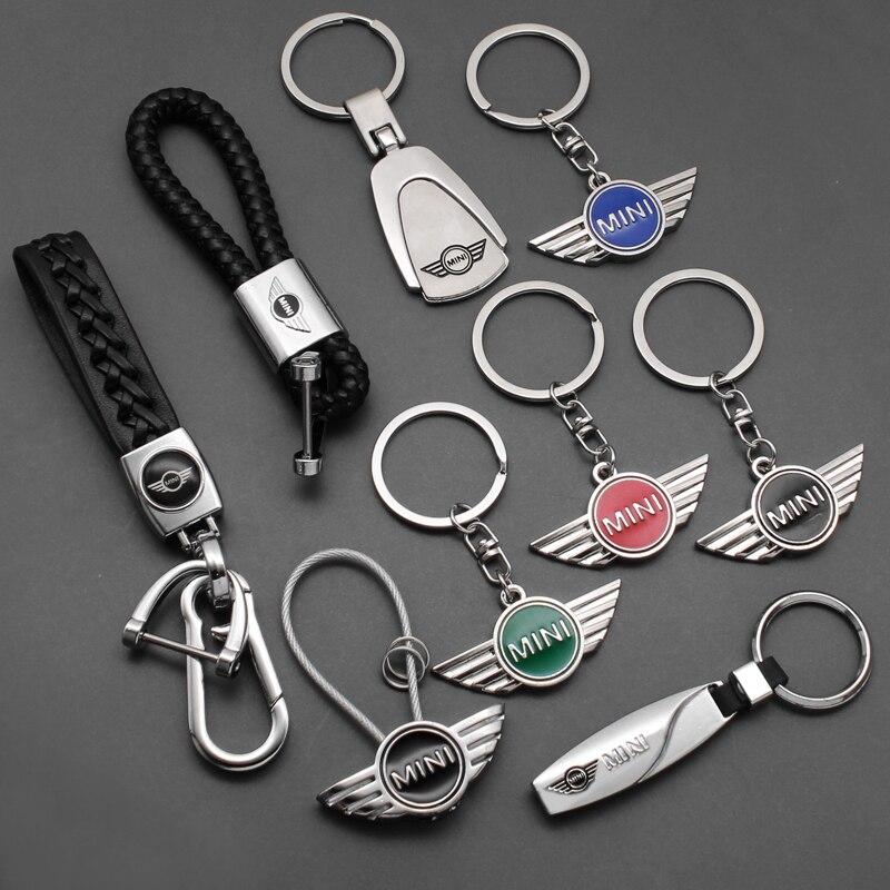1 pçs 3d metal + trançado estilo do carro moda chaveiro chaveiro chaveiros para bmw mini cooper clubman r55 r56 r57 r58 r59 f54 r60