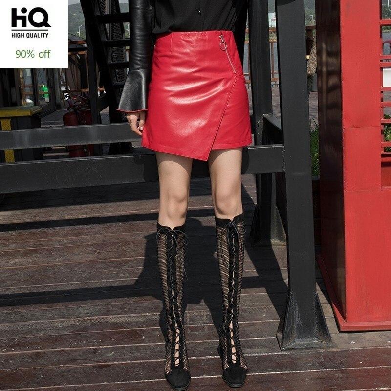 Spring Autumn Genuine Leather Red Skirt Women Luxury Sheepskin Asymmetry Zip Short Skirt Plus Size Street Slim Office Wrap Skirt