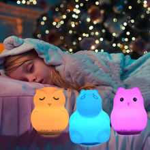 Silicone Bird Hippo Owl Unicorn Music Lamp Wireless Bluetooth Speaker USB Rechargeable RGB LED Night Light for Children Baby