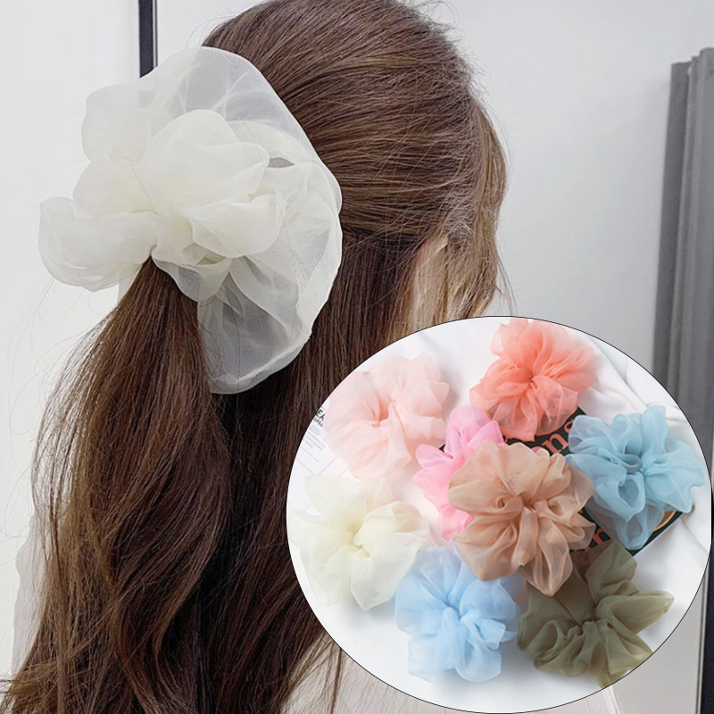 Oversized Fairy French Organza Hair Scrunchies Elegant Chiffon Women Elastic Hair Bands Girls Hair Ties Stretch Ponytail Holder