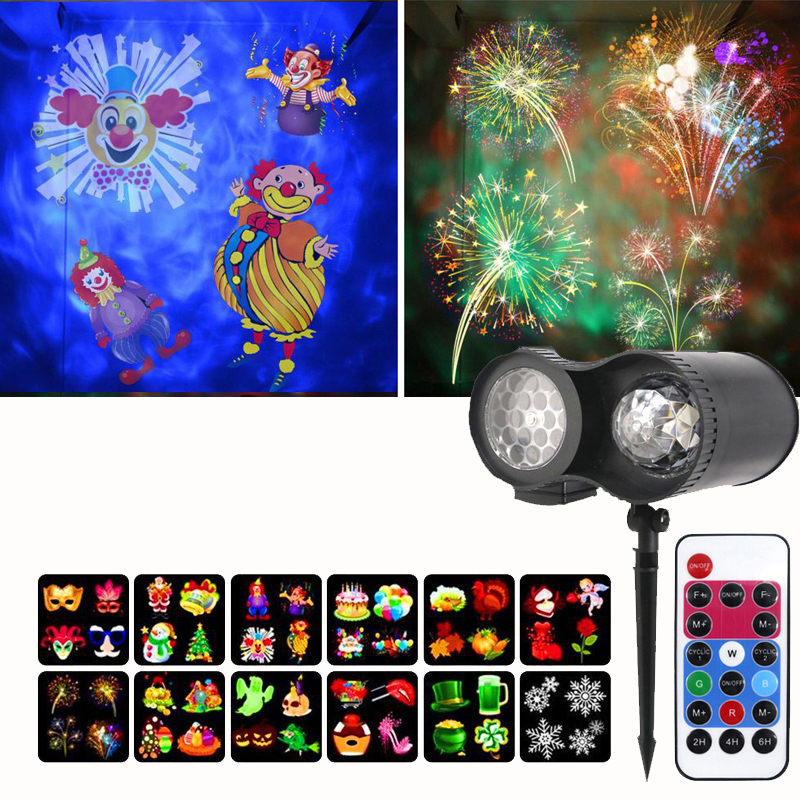 Double Head 12 Patterns Snowflakes Christmas Projector Lamp Outdoor Water Waves Stage Effects Lamp For Christmas New Years Party