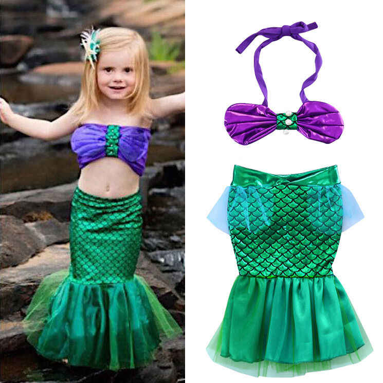 2019 Newborn Baby Toddler Girls Memaid Costume Swimsuit 2Pcs Summer New Shell Tops Lace Mermaid Tail Outfits Beach Swimwear New
