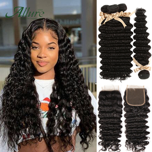 Deep Wave Bundles With Closure Hair Weave Non Remy Peruvian Human Hair 3 Bundles With Closure Natural Color Fast Shipping Allure