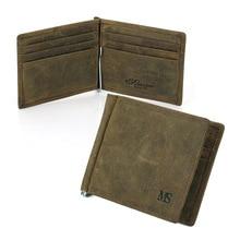 2018 new retro crazy horse skin mens wallet US dollar leather short money