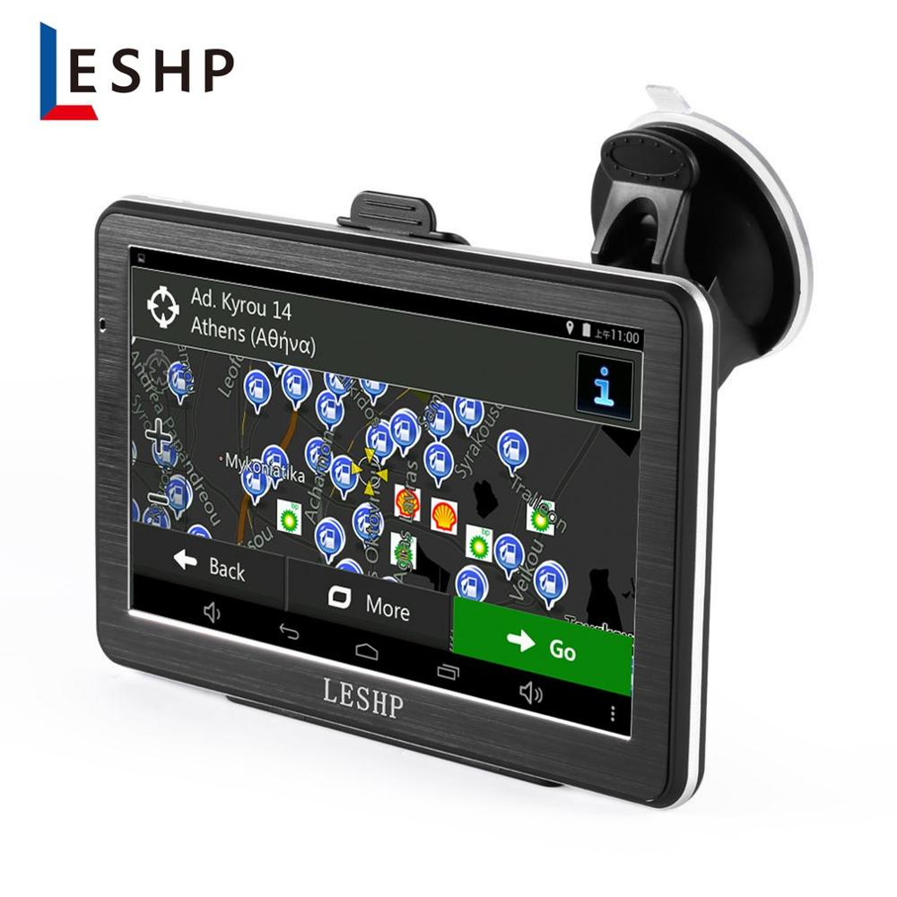 LESHP 7 inch HD Car GPS Navigation Android 8GB Quad-core Automobile 3D Navigator Smart Voice Reminding for Different Countries