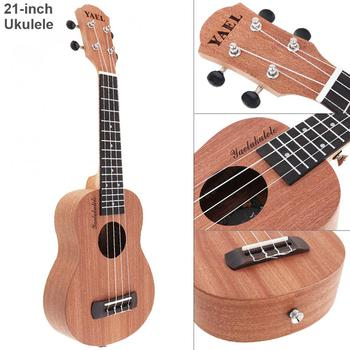 Ukulele 21 Inch Soprano Ukulele Sapele Wood 15 Fret Four Strings Hawaii Guitar String Musical Instrument ukulele 21 inch soprano ukulele uke sapele 15 fret four strings brown musical instrument