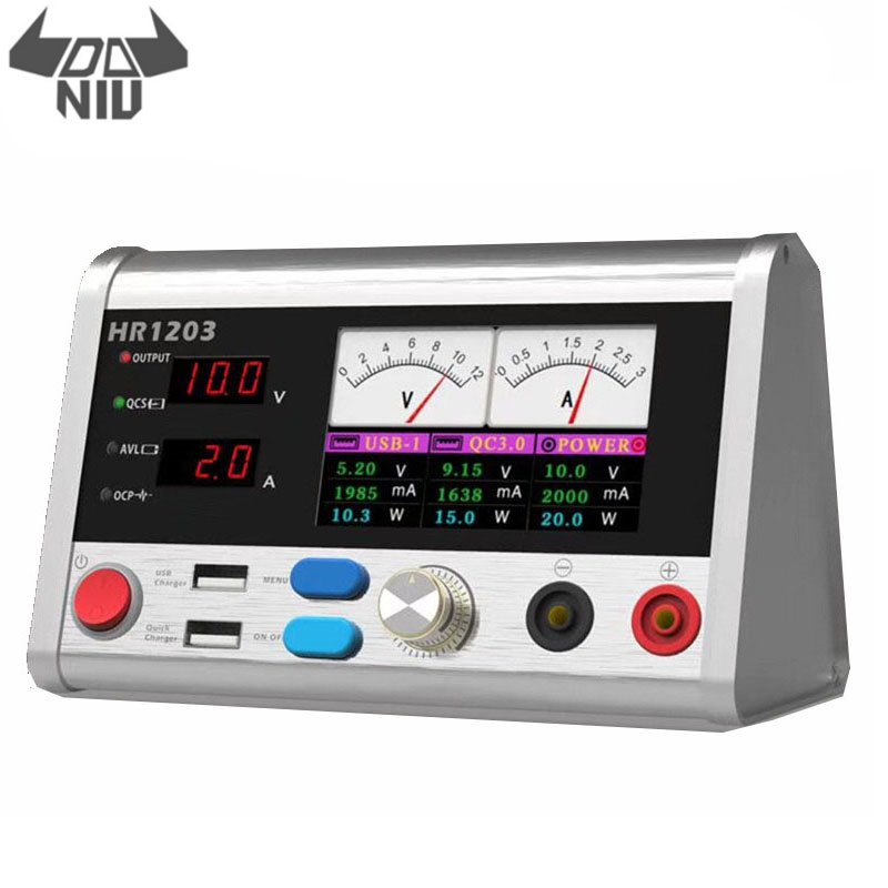 DANIU HR1203 12V 3A Intelligent Voltage Regulator Current Power 3A Oscilloscope Meter With Fast USB Charging Port Repair Tool