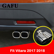цена на Stainless Steel Cover Decor For suzuki vitara 2018 Exhaust Muffler Tips Rear Tail Pipe Tip Tailpipe End Trim Accessories