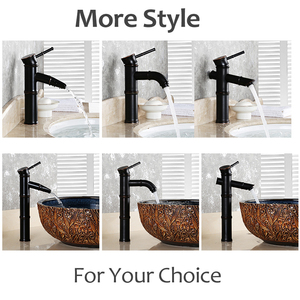 Image 5 - Black Brass Waterfall Bathroom Sink Faucet Vessel Tall Bamboo Water Tap Retro Bronze Oil Rubbed High Single Hole Basin Mixer