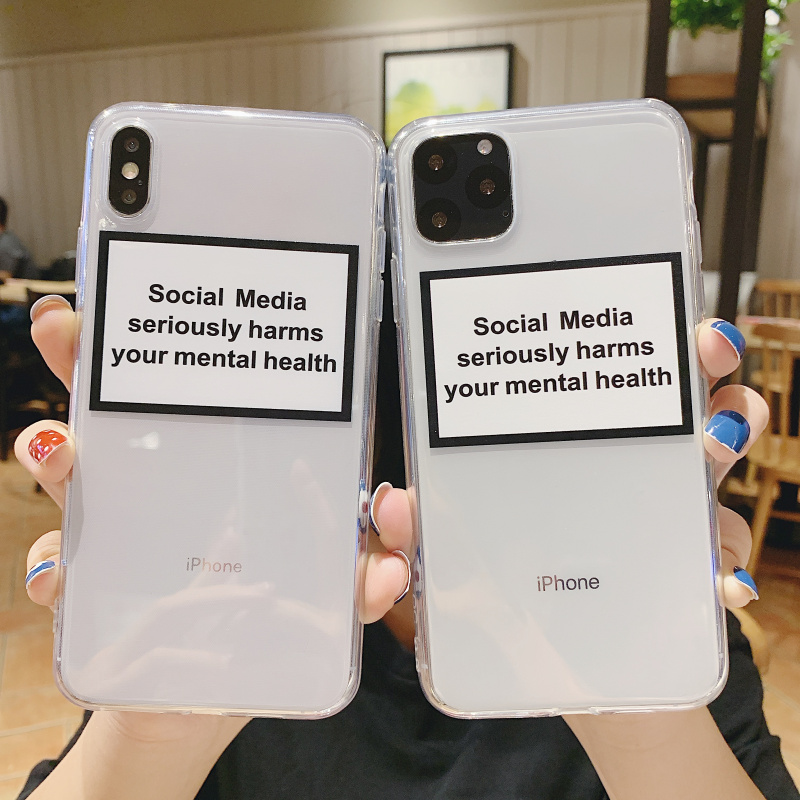 soft Silicone clear cover phone case for iPhone X XR XS Max 6 7 8 plus 5S 5SE social media seriously harms your mental health image