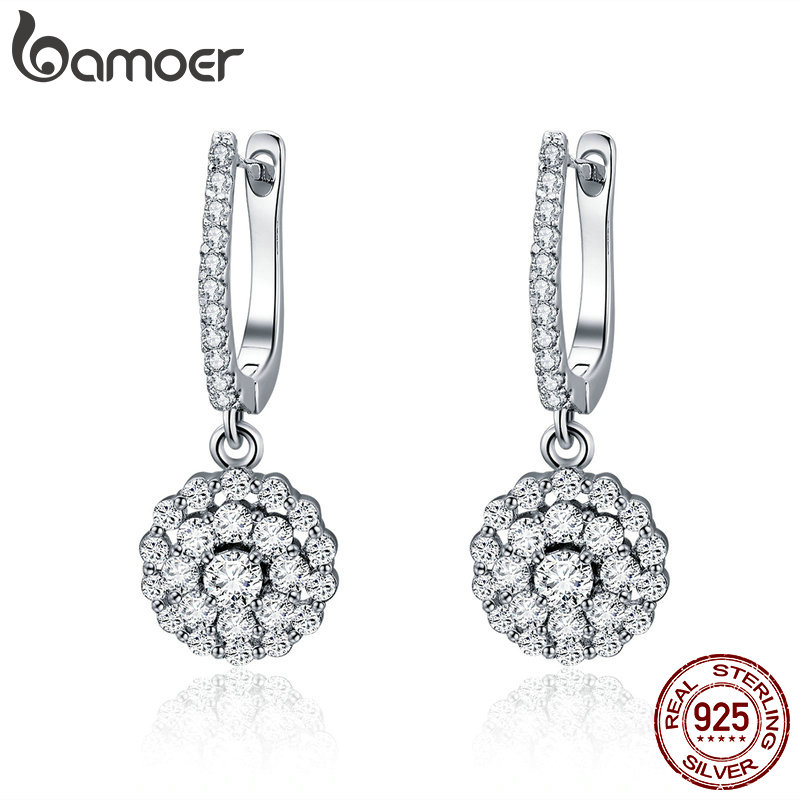 BAMOER Authentic 925 Sterling Silver Shining Cubic Zircon Round Circle Drop Earrings For Women Wedding Engagement Jewelry SCE517