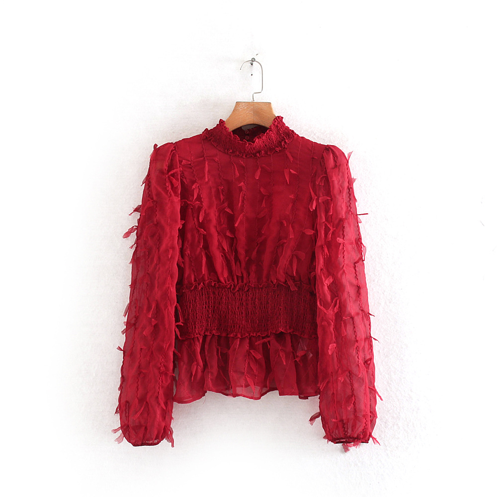 Fringed Shirt Elegant Fashion Chic Peplum Top Blusa Camisa Mujer Women Red Tassel Blouse Long Sleeve High Neck Chiffon Full