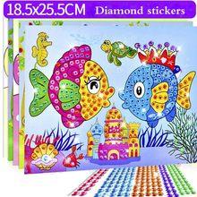 5 adet/grup DIY elmas çıkartmalar el yapımı kristal macun boyama mozaik bulmaca oyuncaklar rastgele renk çocuklar çocuk çıkartmalar oyuncak hediye