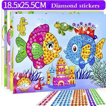 5pcs/lot DIY Diamond Stickers Handmade Crystal Paste Painting Mosaic Puzzle Toys Random Color Kids Child Toy Gift - discount item  50% OFF Classic Toys