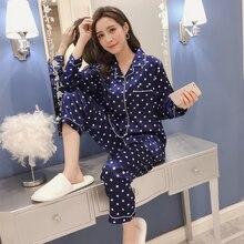 Simulation silk pajamas sets turndown long-sleeved trousers two-piece ladies Small dotsr satin home service sleepwear