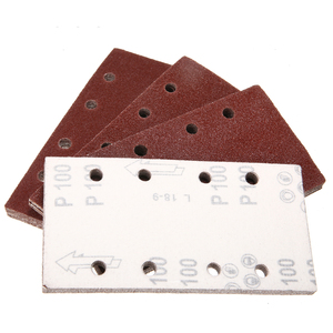 Image 3 - 50pcs 8 Holes Sand Paper Sheets Rectangle Brown Sandpaper for Polishing Swing Grinder 40 120 Grit Orbital Sanders Tools 93*185mm