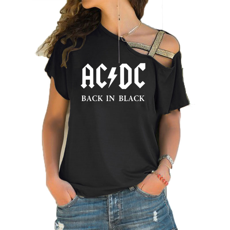 ACDC Band Rock T-Shirt Women's ACDC Letter Printed Tshirts Hip Hop Rap Music Short Sleeve Irregular Skew Cross Bandage Tops Tee