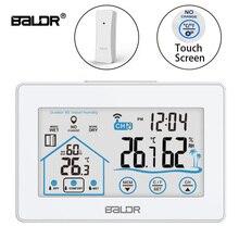 Baldr Draadloze Digitale Weerstation Touch Thermometer Sensor Temperatuur vochtigheidsmeter Hygrometer Wandklok