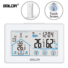 Baldr Wireless Digital Weather Station Touch Thermometer Sensor Temperature Humidity Meter Hygrometer Wall Clock