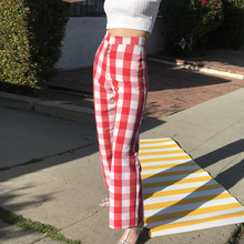 Spring and autumn women's grid zipper wlde leg pants female cotton fashion vintage long pants ladies casual red blue grid pants grid carrot pants