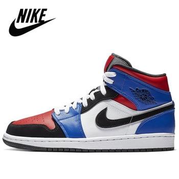 Original Nike Air Jordan 1 Mid TOP 3 Men's Basketball Sneakers Unisex Women Breathable Nike Air Jordan 1 Mid