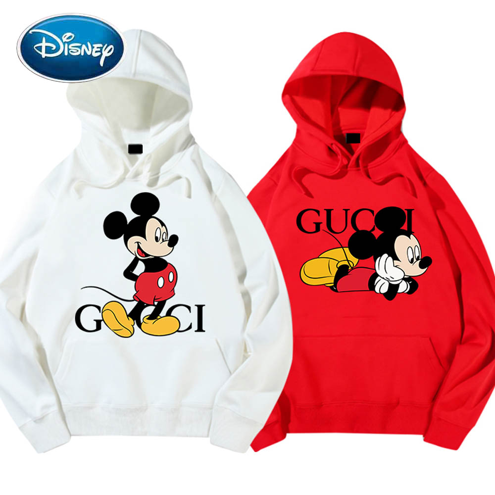 Disney Sweatshirt Chic Fashion Minnie Mickey Mouse Cartoon Letter Print Unisex Women Hoodie Long Sleeve Pocket Tops 6 Colors