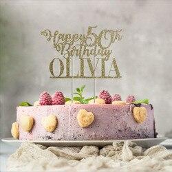 Персонализированные имя и возраст день рождения торт Топпер. 20th, 30th, 40th, 50th, 60th, 70th,80th,90th, birthday custom name cake topper.