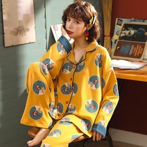 Image 5 - Vestiti delle donne per Lautunno inverno Pigiama Set di indumenti da notte del fumetto Bello Pigiama Mujer Manica Lunga In Cotone Sexy Pigiama Donna