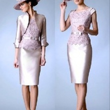 Dresses Wedding Jacket Lace Groom Knee-Length Plus-Size Sheath Short with