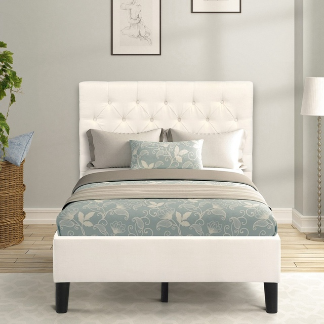Twin Size Upholstered Bed Frame  2