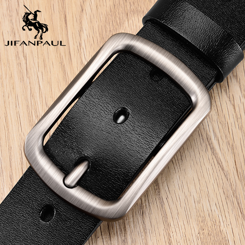 JIFANPAUL Men's Belt High Quality Leather Belt Men Pin Buckle Cow Retro Genuine Leather Business Belts For Men Classice Vintage