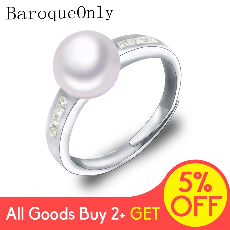 BaroqueOnly  Fashion Pearl Ring 8-9mm AAA Zircon Natural Freshwater Pearl Jewelry  925 Sterling Silver Rings For Women Gift RAM