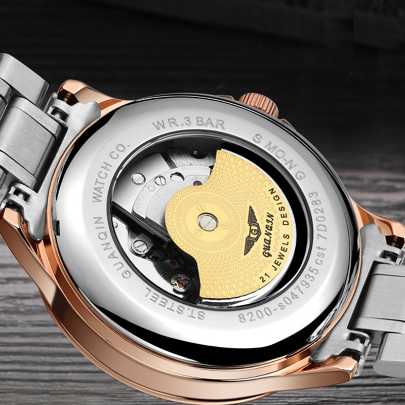 GUANQIN 2019 automatic watch clock men waterproof stainless steel mechanical top brand luxury skeleton watch relogio masculino