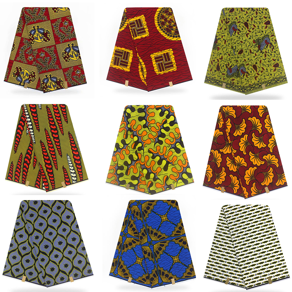Ankara African Polyester Wax Prints Fabric Binta Real Wax High Quality 6 Yard African Fabric For Party Dress