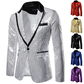 2020 Shiny Singer Suit Gold Shiny Decorated Blazer Jacket for Men Night Club Graduation Men Suit Blazer Homme Costume Stage Wear фото