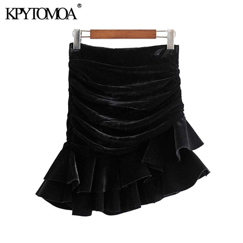 Vintage Stylish Ruffles Irregular Velvet Mini Skirt Women 2019 Fashion High Waist Back Zipper Female Skirts Casual Faldas Mujer