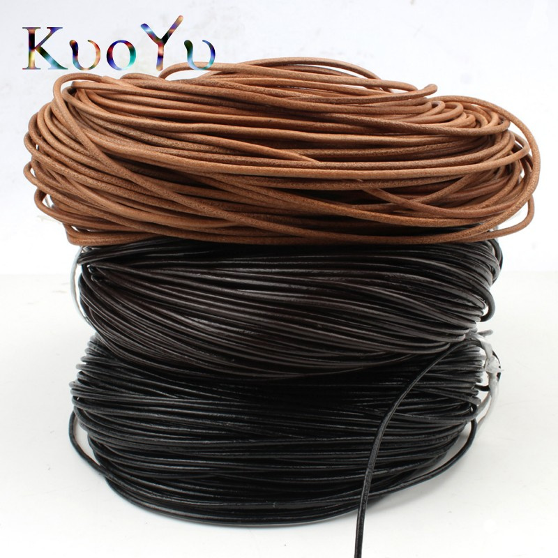 5m Black Round Leather Rope Cowhide Cords craft Jewelry necklace Bracelet Thread