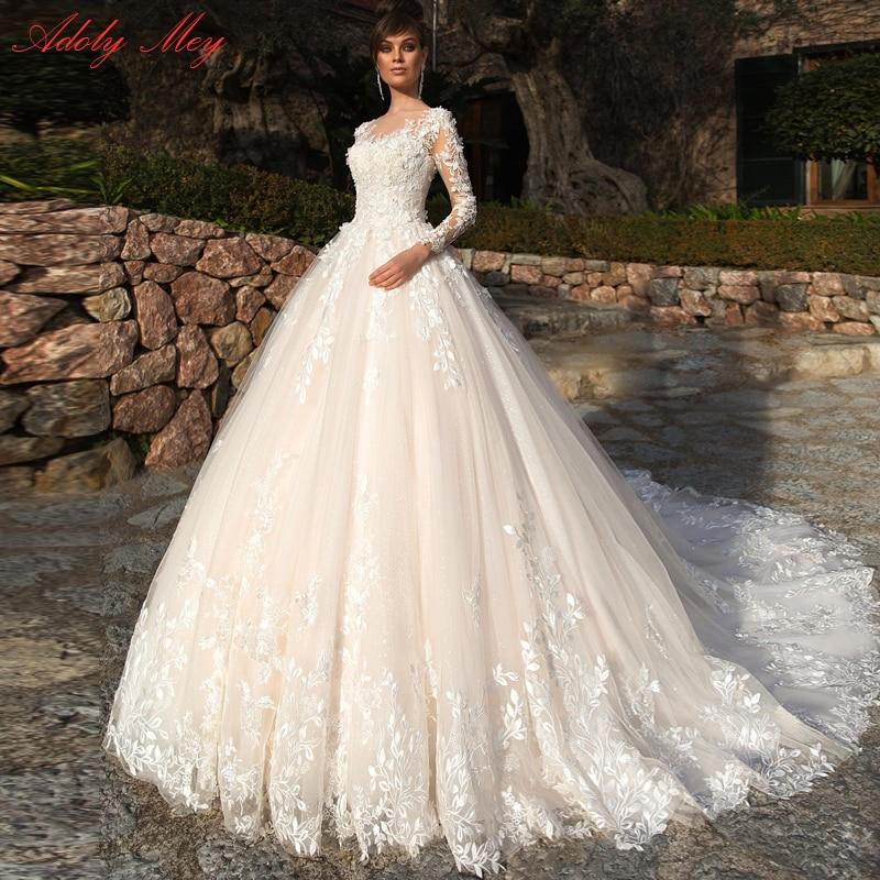 Adoly Mey Design Gorgeous Appliques Flowers Beaded A-Line Wedding Dresses 2020 Elegant Scoop Neck Long Sleeve Vintage Bride Gown