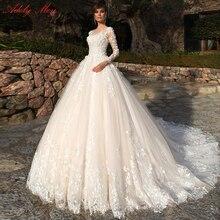 Adoly メイデザインゴージャスなアップリケの花ビーズ a ラインのウェディングドレス 2020 エレガントなスクープネック長袖ヴィンテージ花嫁