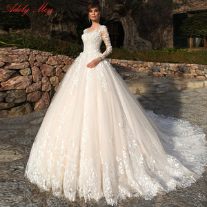 Image 1 - Adoly メイデザインゴージャスなアップリケの花ビーズ a ラインのウェディングドレス 2020 エレガントなスクープネック長袖ヴィンテージ花嫁