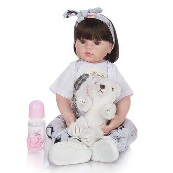 24 Inch Pretty Girl Reborn Baby  Doll 60 cm Soft silicone Cloth Body Princess Doll Lifelike Boneca Reborn Kids  Playmate toys