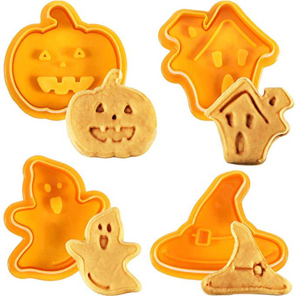4pcs/set Halloween Cookie Mould Biscuit Stamp 3D Cookie Plunger Cutter DIY Baking Mould Cookie Cutters For Kitchen Tools